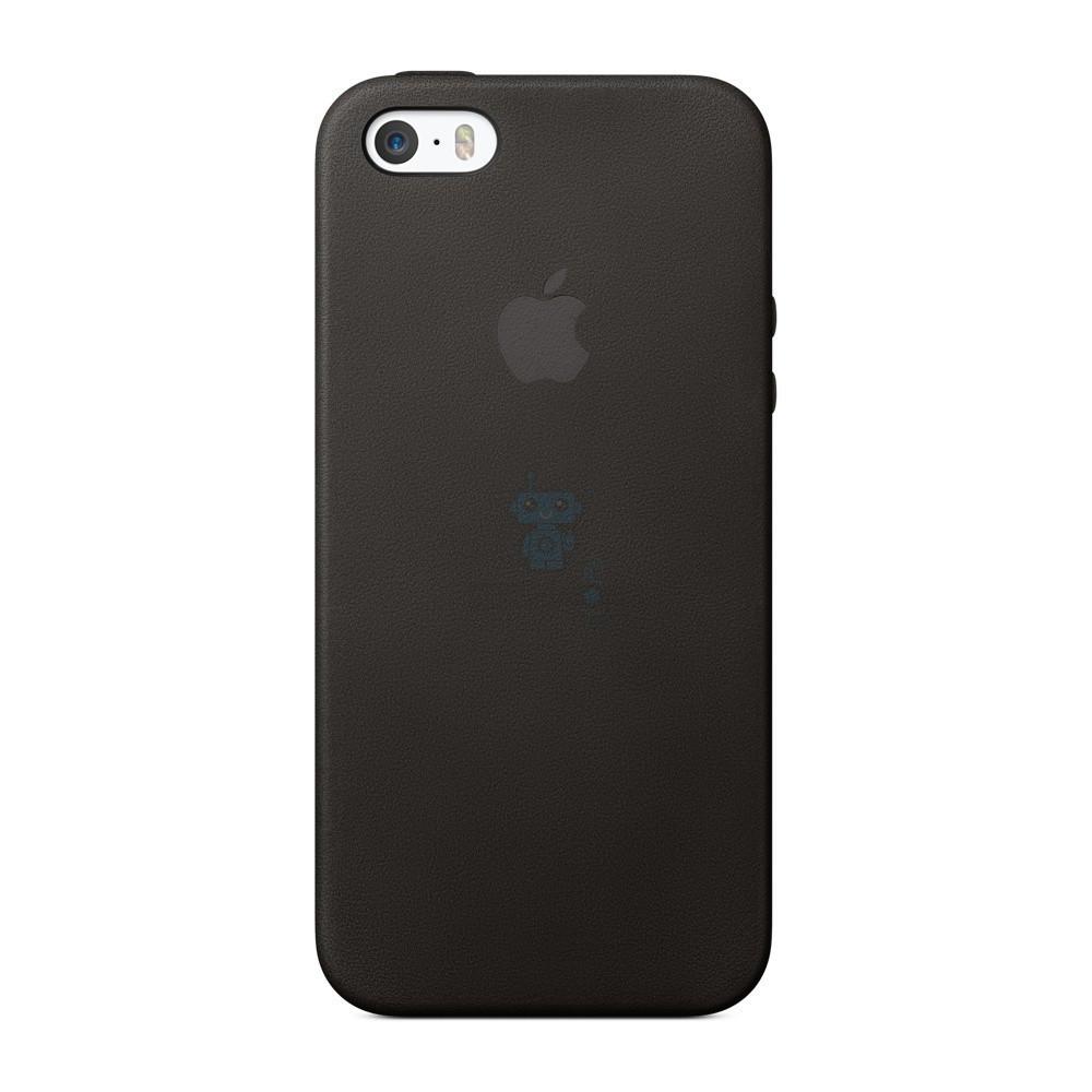 Оригинальная кожаная накладка Apple Case для iPhone 5, 5S, SE - черная