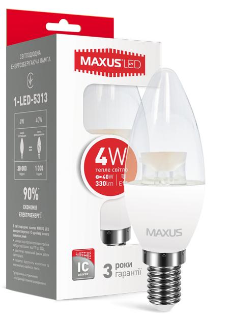 LED лампа Maxus С37 CL-C 4W Теплый свет  220V Е 14