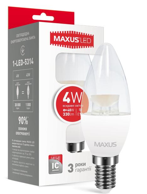 LED лампа Maxus С37 CL-C 4W Яркий свет  220V Е 14(1-LED-5314)