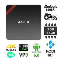 ОЧЕНЬ БЫСТРЫЙ! NEXBOX A95X TV Box S905X 2Gb+16Gb 700+каналов бесплатно Android 6.0 Wi-Fi 2.4g, 5g