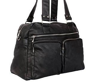 Дорожная сумка и сумка для фитнеса из искусственной кожи черная