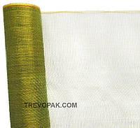 Сетка для упаковки цветов простая зеленая +золото