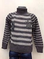 Свитер для мальчиков вязанный Серая полоска