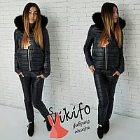Теплый зимний костюм тройка: куртка, штаны и кофта, утеплен силиконом, черный