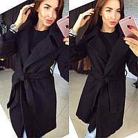 Стильное женское кашемировое пальто на подкладке, с поясом. Цвет черный