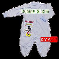 Человечек для новорожденного р. 80-86 тонкий ткань КУЛИР 100% хлопок ТМ Алекс 3045 Голубой 86 А