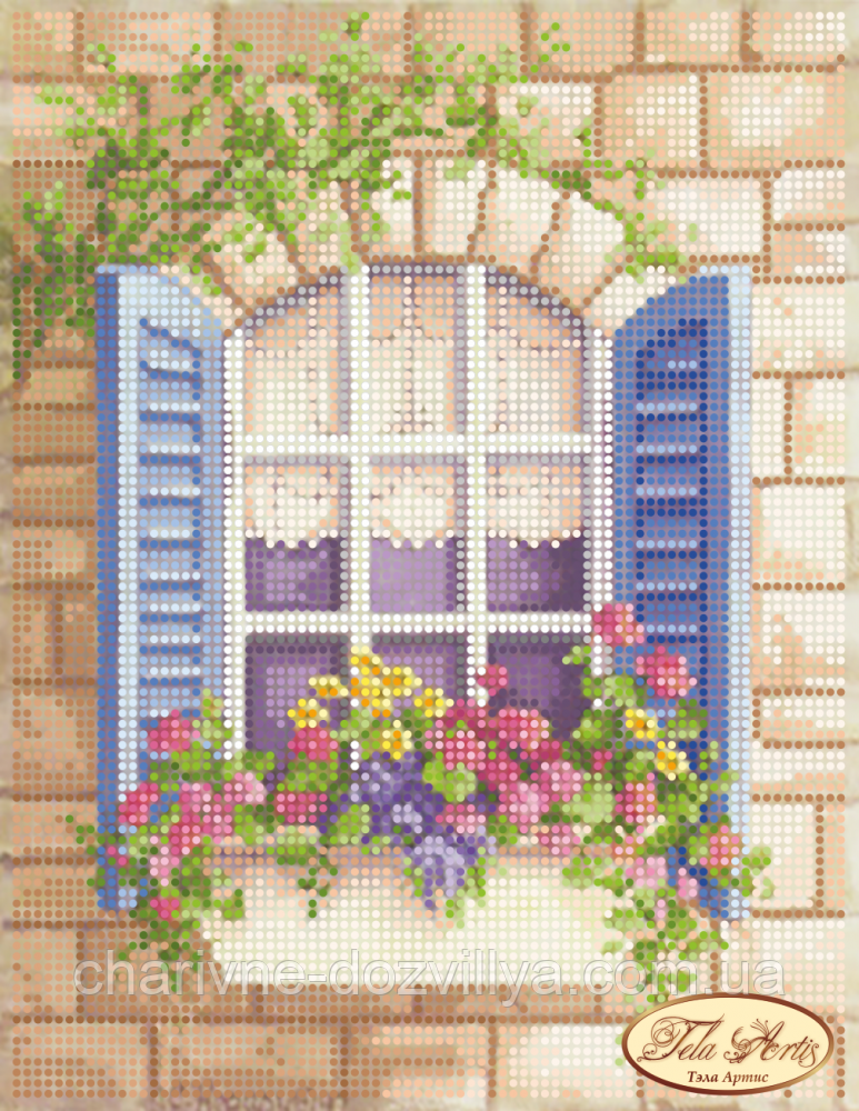 """Схема для вышивки бисером на атласе """"Окно в Лондон"""""""