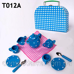 Игрушечная посуда фарфоровая  T012A (48шт) чайник, чашки, блюдца, ложки, в чемодане 20.5*14.5*7.5см