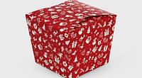 """Коробка """"Япония"""" М0060-о3 новогодний принт, красная"""