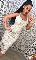 Элегантное женское кружевное платье на бретелях, сзади на молнии. Цвет белый