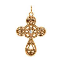 Восхитительный маленький золотой крестик 585* пробы