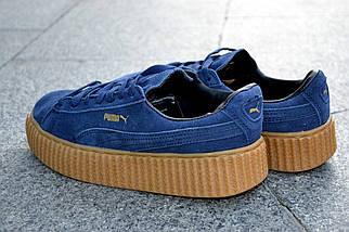 Кроссовки Puma by Rihanna, синие, замшевые кроссовки, фото 3