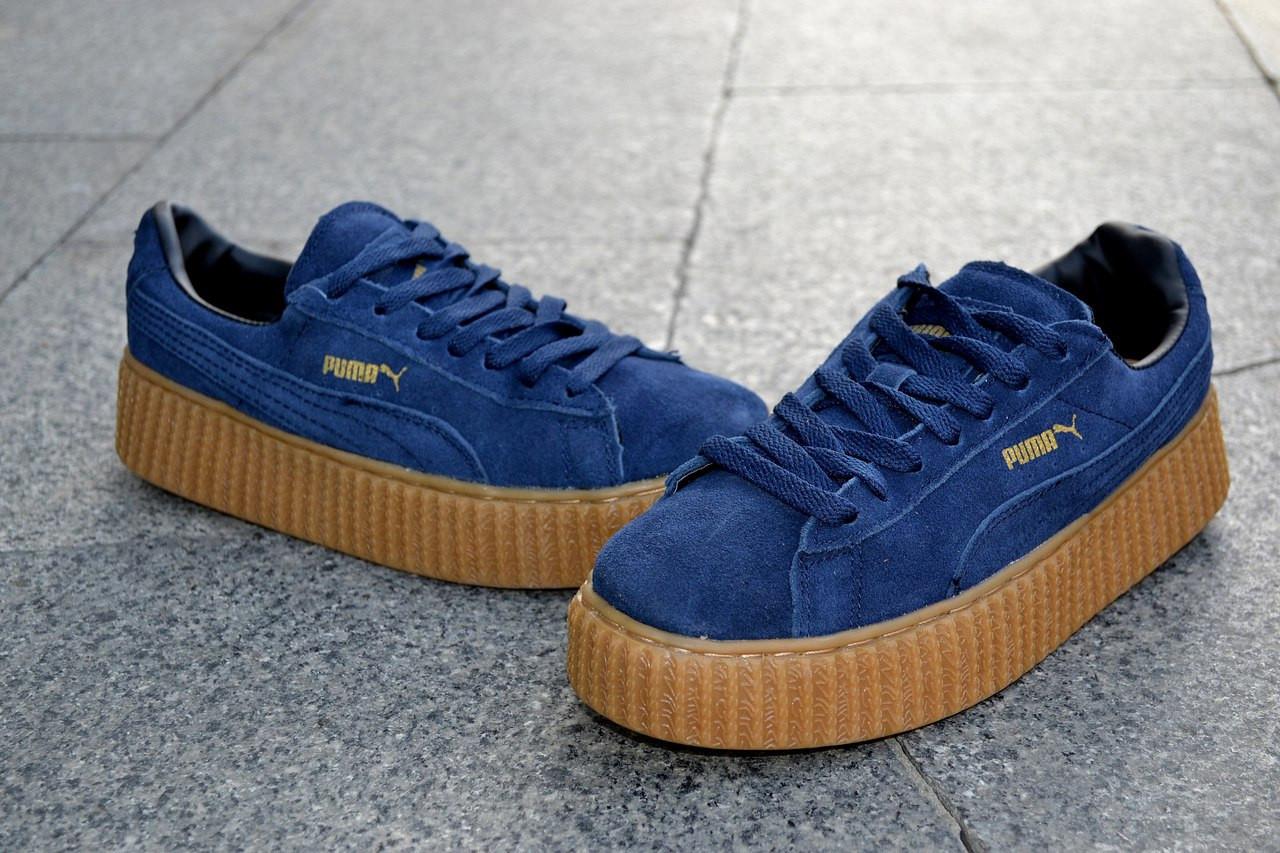 68f24b48b5fb Кроссовки Puma by Rihanna, синие, замшевые кроссовки - ATTIC   одежда,  обувь,