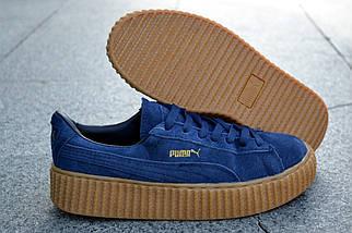 Кроссовки Puma by Rihanna, синие, замшевые кроссовки, фото 2