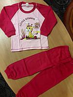 Детская теплая пижама на баечке для девочки Жирафик малиновая 98 размер