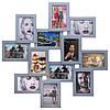 Деревянная мультирамка Зигзаг серебро на 12 фото