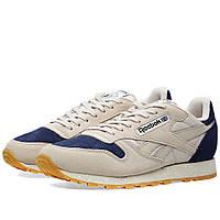 Оригинальные кроссовки Reebok Classic Leather SM Sandstone   Blue Ink 2a49110758fb5