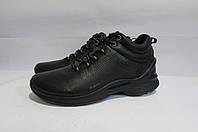 Мужские зимние кожаные ботинки ECCO (8636) черные 3003А