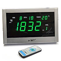 Часы сетевые VST 771 Т-4 говорящие салатовые, пульт Д/У цв.серебро (электронные часы настольные,настенные)