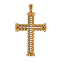Привлекательный закрученный золотой крест 585* пробы с камнями