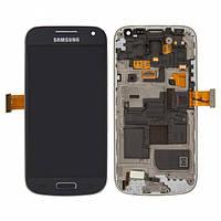 Дисплей для Samsung I9190 Galaxy S4 mini, I9192 Galaxy S4 Mini Duos + с сенсором (тачскрином) и рамкой Blue