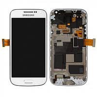 Дисплей для Samsung I9190 Galaxy S4 mini, I9192 Galaxy S4 Mini Duos + с сенсором (тачскрином) и рамкой White