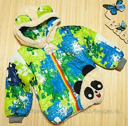 Детская куртка (Пазл) оптом Зеленая от 3 шт
