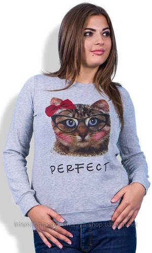 Кофта женская полубатал с кошкой