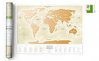 Скретч Карта Мира Travel Map Gold (rus) в тубусе / опт