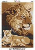 Ткань с рисунком для вышивки бисером Львы (полная зашивка)