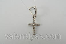 Крестик серебряный родированный с цирконами