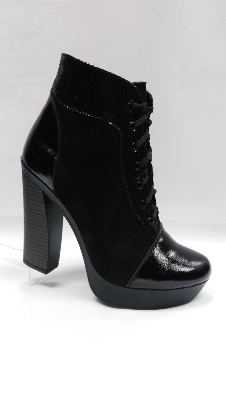 Черные  ботинки на толстой подошве. Ботильоны. Маленькие размеры.  Украина.