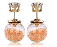 Пусеты Кристаллы/бижутерия/цвет персиковый