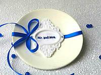 Блюдце для колец свадебное. Синий бант.