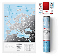 Скретч Карта Европы Travel Map Silver в тубусе