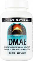 DMAE (ДМАЭ, Диметиламиноэтанол) Source Naturals, 351 мг, 200 таблеток. Сделано в США.