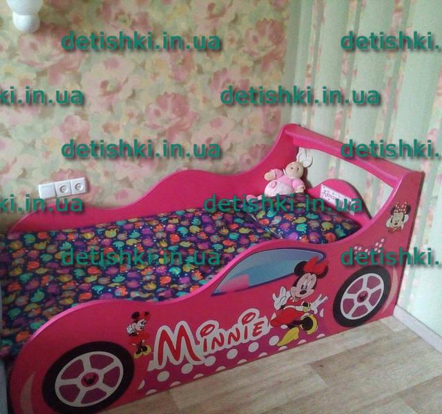 "Кровать машина "" Мини Маус "" - малина, артикул ( Ф-0008)"