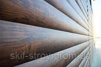 Металлосайдинг блок-хаус (бревно, сруб) цвет дуб, орех, фото 2