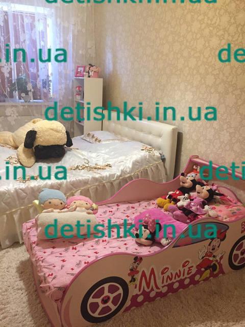 "Кровать машина "" Мини Маус "" - сакура цвет ДСП, артикул ( Ф-0008)"