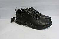 Мужские демисезонные кожаные кроссовки ECCO (8375) черные 3006А