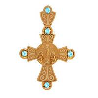 Необычный золотой крест 585* пробы с Фианитами
