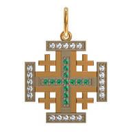 Квадратичный оригинальный золотой крест 585* пробы с камнями