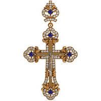 Большой ажурный золотой крест 585* пробы с Фианитами