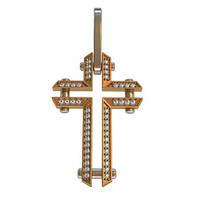 Оригинальный пустотелый золотой крестик 585* пробы