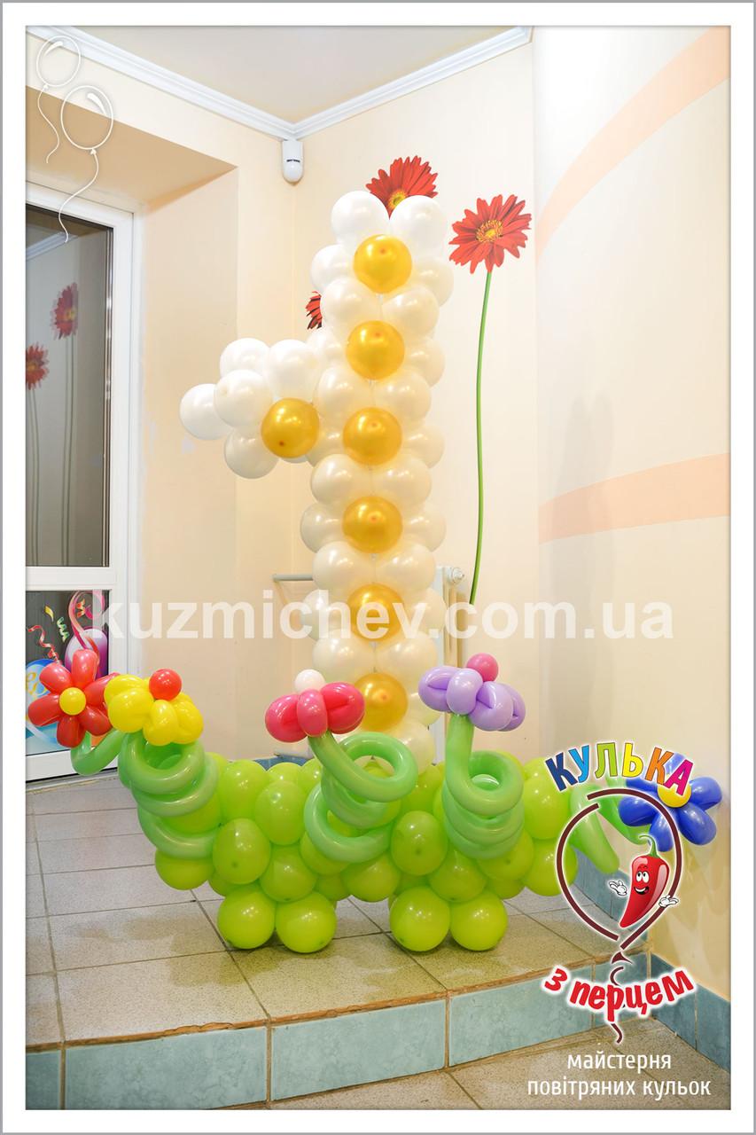 """Цифра """"1"""" с цветочками"""