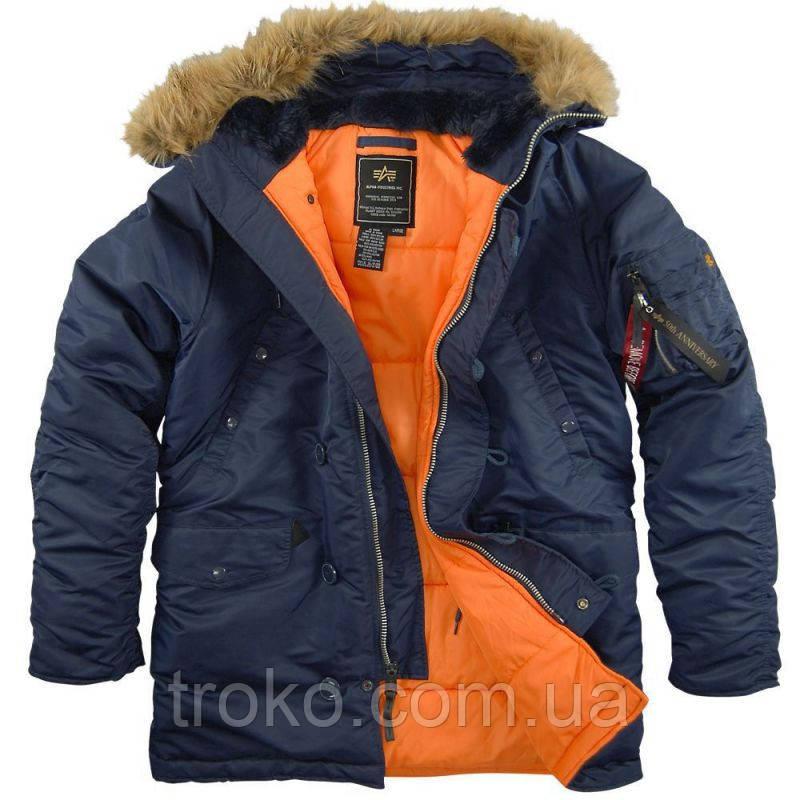 Зимняя мужская куртка Alpha Industries Slim Fit N-3B Parka Blue