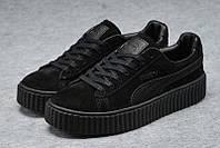 Женские кроссовки замшевые Rihanna x PUMA Creeper (Black/Black/Black)