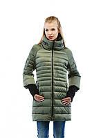Модная женская удлиненная зимняя куртка в 4х цветах К-37