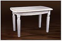 Обеденный стол деревянный Кайман 120(+40)х70х75 (белый с патиной)