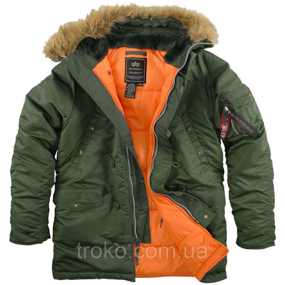 Мужская зимняя куртка Alpha Industries Slim Fit N-3B Parka Green